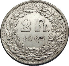 1965 SWITZERLAND - SILVER 2 Francs Coin HELVETIA Symbolizes SWISS Nation i71941