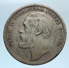 1875 ST SWEDEN King Oscar II Shield Old Antique Silver Krona SWEDISH Coin i74314