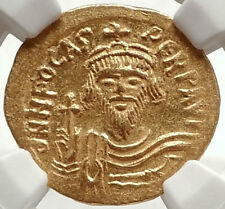 PHOCAS Ancient Byzantine 602AD GOLD Solidus Coin w ANGEL VICTORY - NGC MS i66900