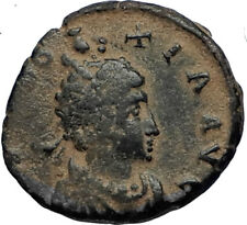 EUDOXIA Arcadius Wife 400AD Authentic Ancient Roman Coin GOD's HAND CROSS i67601