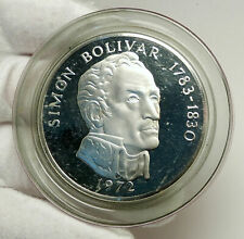 1972 PANAMA Huge 6.2cm Proof Silver 3.8oz 20 Balboas Coin w SIMON BOLIVAR i76337