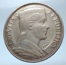 1931 LATVIA w Female Headwear 5 Lati LARGE Vintage Silver European Coin i73912