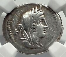 Roman Republic 102BC Cybele Victory Chariot Stork Ancient Silver Coin NGC i77275