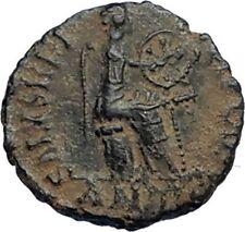 AELIA FLACILLA Theodosius I Wife 383AD Ancient Roman Coin VICTORY CHI-RHO i67542