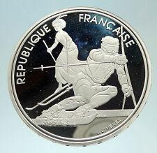 1990 FRANCE Slalom Skiing 1992 Olympics Proof Silver 100 Francs Coin i76891