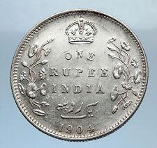 1904 King EDWARD VII of United Kingdom EMPEROR British INDIA Silver Coin i71883