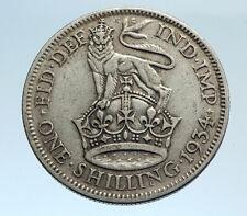 1934 Great Britain UK United Kingdom SILVER SHILLING Coin King George V i74343