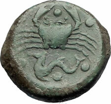 AKRAGAS in SICILY Authentic Ancient 420BC Greek Coin EAGLE RABBIT CRAB i73534