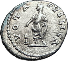 ELAGABALUS sacrificing  221AD Rome Authentic Ancient Silver Roman Coin i73548