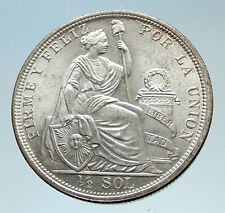 1915 PERU South America 1/2 SOL Genuine Original Silver Peruvian Coin i75341