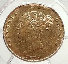 1853 GREAT BRITAIN United Kingdom Queen VICTORIA Gold 1/2 Sovereign Coin i71324