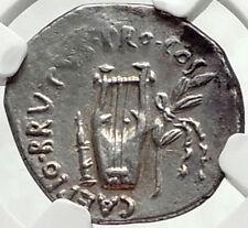 BRUTUS Assassin of JULIUS CAESAR Rare 42BC Ancient Silver Roman Coin NGC i68163
