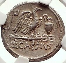 Roman Republic CASSIUS LONGINUS 55BC Julius Caesar TIME Silver Coin NGC i69796
