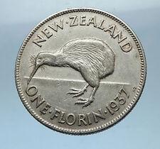 1937 NEW ZEALAND under UK King George VI Silver Florin Coin w KIWI BIRD i68319