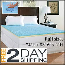 Full Size Mattress Topper Memory Foam 2 Thick Orthopedic Egg Crate Cushion Bed