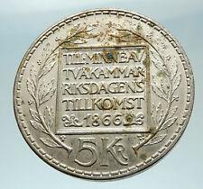 1966 SWEDEN King GUSTAV VI ADOLF Silver SWEDISH Coin CONSTITUTION Signing i76554