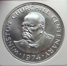 1974 TURKS & CAICOS Silver 20 Crowns WINSTON CHURCHILL CommemorativeNGC i72133