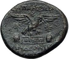 APAMEIA PHRYGIA 88BC Athena Gemini Caps Eagle Original Ancient Greek Coin i68071