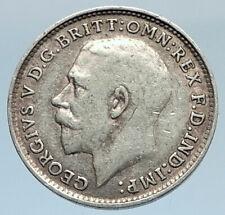 1919 UK Great Britain United Kingdom KING GEORGE V Silver Threepence Coin i74324