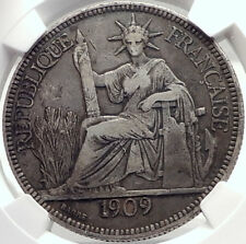 1909 A FRENCH INDO-CHINA Antique Silver Piastre Coin France Republic NGC i70021