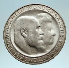 1911 Germany GERMAN STATES Wurttemburg w WILHELM II Antique Silver Coin i76209