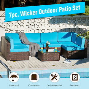 blue patio garden furniture sets for