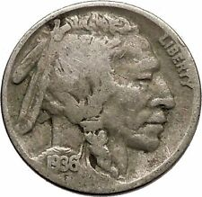 1936 BUFFALO NICKEL 5 Cents of United States of America USA Antique Coin i43831