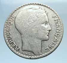 1931 FRANCE w Marianne FRENCH MOTTO Antique Genuine Silver 10 Francs Coin i74101