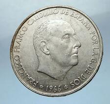 1966 Francisco Franco Cadillo of Spain 100 Pesetas Silver Spanish Coin i68239