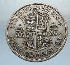 1939 Great Britain United Kingdom UK GEORGE VI Silver Half Crown Coin i66838