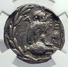 ATHENS Greece 133BC Athenian New Style Silver Drachm Greek Coin  OWL NGC i77391