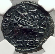 ALEXANDRIA TROAS Apollo on Griffin Hyperboreans Visit RARE Greek Coin NGC i68777