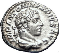 ELAGABALUS 220AD Rome Authentic  Ancient Silver Roman Coin Victory Nike 73555
