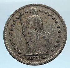 1914 SWITZERLAND - SILVER 1 Franc Coin - HELVETIA Symbolizes SWISS Nation i74320