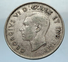 1944 CANADA WWII Time SILVER 50 Cents Coin UK King GEORGE VI Coat-of-Arms i66878