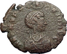EUDOXIA Arcadius Wife 401AD Authentic Ancient Roman Coin VICTORY CHI-RHO i71267