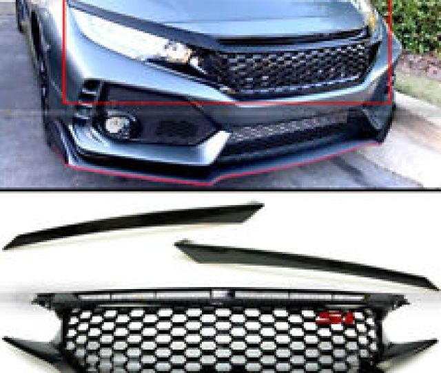 For 16 Th X Fk8 Glossy Black Honeycomb Mesh Front Grille Eyebrows