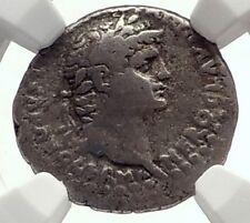 NERO & Divus CLAUDIUS Ancient Silver Roman  Drachm Coin of Caesareaw NGC i71718