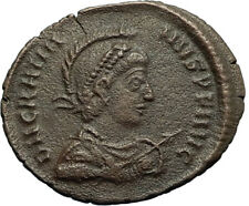 GRATIAN on Galley w Victory Original 378AD Authentic Ancient Roman Coin i66489