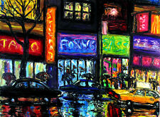 Oil Cityscapes Art Paintings   eBay Original OIL Painting Arthur Robins New York City Art Cars Rain Street NYC  Cab