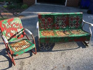 vintage patio glider in patio chairs