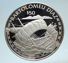 1988 COOK ISLANDS Portuguese Bartolomeu Diaz SAILING SHIP Silver $50 Coin i75179