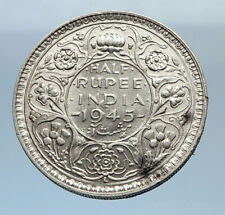 1945 INDIA States Silver 1/2 RUPEE Indian Coin UK George VI Vintage Coin i71892