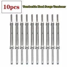 10Pcs Lag Screw Set Turnbuckle Hand Swage Tensioner for 1/8'' Cable Railing T316