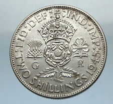 1943 United Kingdom Great Britain GEORGE VI Silver Florin 2Shillings Coin i66840