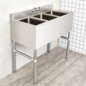 commercial compartment sinks with 3