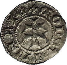 1382AD HUNGARY Queen Mary Very Rare Medieval Silver Denar Coin w CROSS i66621