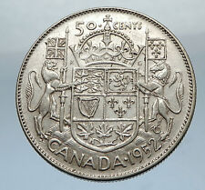 1952 CANADA - Large SILVER 50 Cents Coin - UK King GEORGE VI Coat-of-Arms i66877