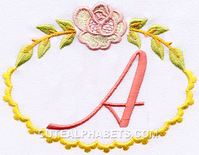 Download Rose frame font - Cute Alphabets - Embroidery Fonts