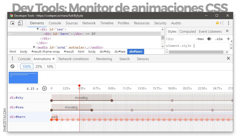 Gestor de animaciones CSS desde Chrome® Dev Tools